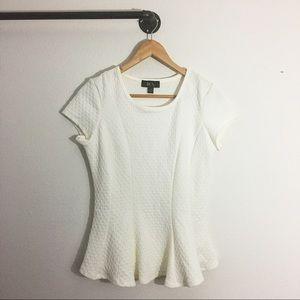 BCX Textured Peplum Shirt in Ivory Womens Size M